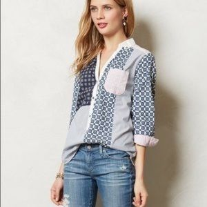 HD in Paris {anthro} Patchwork Button Down Top